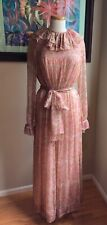 Treacy Lowe 70's Silk Chiffon Floral & Paisley Patterned Couture Maxi Dress