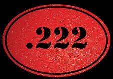 Euro Oval Decal Sticker .222 Bullet Ammo swift Rifle Gun Case Glitter Red