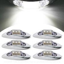 6x White 3 LED Side Marker Light Indicator Lamp Bezel 10V-30V Van Truck Trailer