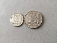 2 pièces en argent 10 F - 20 F Turin 1933 -.TTB