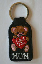 Love You Mum Embroidery Keyring Machine Embroidered Patch Key Chain Chrome Rings