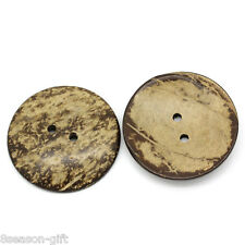 10PCs Coconut Shell Buttons Sewing Scrapbooking Brown Round 2 Holes 5cm Dia.