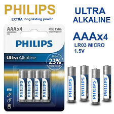 4x PHILIPS 1.5V AAA Ultra Alkaline Batteries LR03 AM4 R03 MICRO 1.5Volt Battery