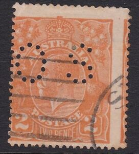 1920 KGV 1st wmk, 2d Orange, Perf OS stamp with major miss-placement, used
