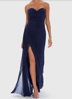 Forever Unique Navy Strapless Maxi Dress With Gathered Waist. Size 8. RRP £200
