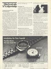 1978 Time Capsule Dive Watch PRINT AD Scuba Diver Watch