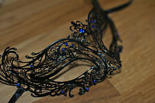Exquisite Venetian Black Metal Mask Filigree Masquerade Blue Diamante Ball. Prom