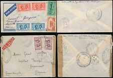 MARTINIQUE to FRENCH GUIANA 1941-43 CENSORED 8 stamps AIRMAIL ENVELOPES..2 TYPES