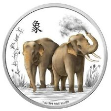 Niue - 2 Dollar 2015 - Elefanten - Feng Shui (4.) - 1 Oz Silber PP
