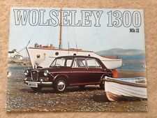 WOLSELEY 1300 Mark II Car Sales Brochure 1968-69 #2586/D with garage stamp