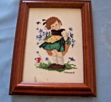 Hummel Little Girl athering Wildflowers Completed Cross Stitch Framed