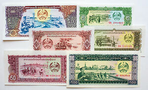 Set of 6 diff. Laos paper money 1979 to 1988 Au-Uncirculated