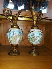 PAIR Antique Victorian HAND PAINTED Ewer Vase ORNATE  Metal BEAUTIFUL