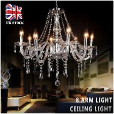 Clear Crystal Light 8 Arm Chandelier Ceiling Light Retro Droplets Pendant Lamp