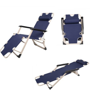 Textoline Sun Lounger Chair Recliner Garden Bed Reclining Head/Armrest Folding