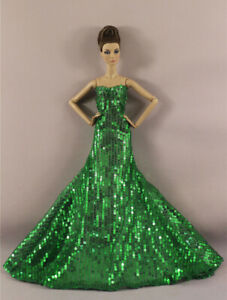 Fashion Green Shining Bead Fishtail Skirt Mermaid Dress Gown For 11 in. Doll