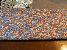 Fabric Quilting Blue and Brown Rose Print Cotton Fabric - 4.4 Yards