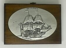 Vintage Mayflower Wood Wall Plaque Art New England Bronze Age Technique A158-12