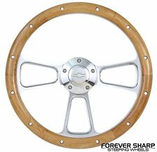 "Chevy Bel Air Impala 14"" Alder Wood Steering Wheel w/ 69-94 GM Column Adapter"