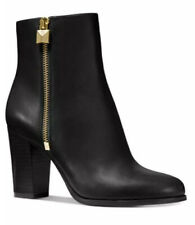 Michael Kors Frenchie Booties Ankle Boots Leather Heels Black Gold 6 M $165