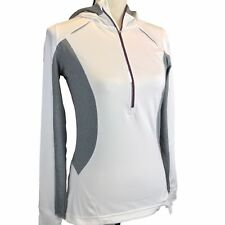 Mondetta 1/2 Zip Athletic Pullover Shirt Jacket Womens Small White Gray Hooded