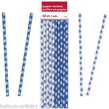 10 Christmas Party Blue White Elegant Winter Snowflakes Paper Drinking Straws