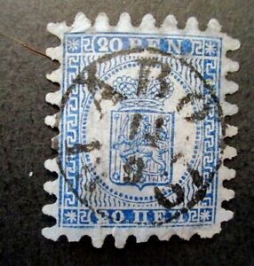 1866 Finland S# 9, 20 Pen Blue Postage Stamp, Missing perf teeth, Used