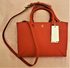 Tory Burch Crossbody/Handbag Poppy Orange Leather/Gold Metal Tory Burch accent