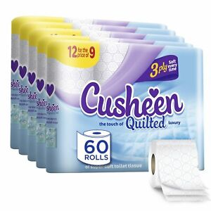 Cusheen Luxury Quilted White 3ply Hygiene Toilet Tissue Paper 60 Rolls Supersoft