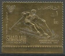Charjah Jeux Olympiques Ski Olympics Games ** 1968 Or Inconnu Unknowed Gold Foil