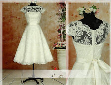 Vintage Short Wedding Dress Tea Length White Ivory Bridal Gown Custom Made 4-28+