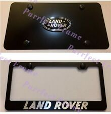 Land Rover Stainless Black Front License Plate & Frame Combo Rust Free