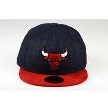 New Era 59 FIFTY Chicago Bulls Blu Denim Rosso in Pelle Scamosciata Picco  Baseball Cap Hat 57.7cm fde27bbe9373