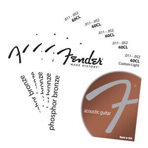 5 Packs Fender 60CL Acoustic Guitar Strings Custom Light Phosphor Bronze 011-052