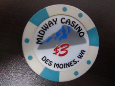 $3 MIDWAY CASINO DES MOINES WA Gaming Casino Chip GREAT Golf Ball Marker