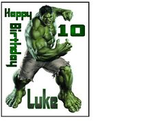 """The Hulk Vengadores Cumpleaños Pastel Topper 10""""x8"""" en A4 Glaseado Hoja Personalizado"""