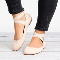 Women Ballet Ballerina Shoes Flat Pumps Loafers Suede Dolly Bridal Sandals 2.5-8