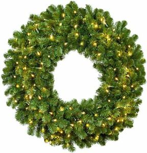 "(NEW) Red Sleigh 48"" Pre-lit Sequoia Fir Commercial Wreath with 200 lights NIB"