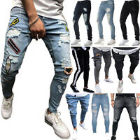 Men Skinny Jeans Ripped Pants Casual Slim Fit Biker Denim Stretch Moto Trousers