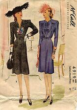 1940's VTG McCall's  Misses' Dress  Pattern 4919 Size 18