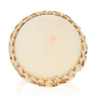 Round Cabochon Cut Angel Skin Coral Ring - 14k Yellow Gold Cocktail Solitaire