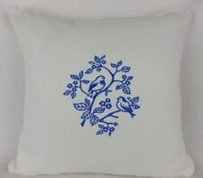 "Shabby Chic Blue Embroidered Bird Scatter Pillow Large 18"" Cushion Cover"
