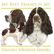 """ENGLISH SPRINGER SPANIEL """"Best Friend"""" on Twelve 6 inch Fabric Squares to Quilt"""