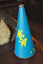 "Vntg Cheerleading Megaphone Nsa Nancy Blue Yellow 24 "" H Nanesmond Suffolk Acad"