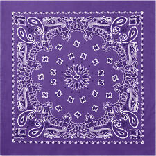 "Purple Trainmen Cotton Paisley Biker Sport Bandana 22"" x 22"""
