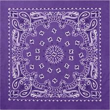 "Purple Trainmen Cotton Paisley Biker Sport Bandana 22"" x 22"""