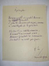 Epitaphe de Françis Eon à Gérardot de Sermoise 24 Aout 1932