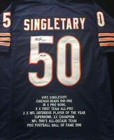 Mike Singletary Chicago Bears Signed Autograph Blue Football Stat Jersey JSA COA