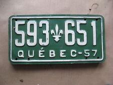 1957 57 QUEBEC CANADA CANADIAN LICENSE PLATE  RARE #  593 651