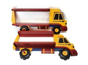 "Pair Of Kids Decor Dump Truck Shaped Theme Wall Shelf 28"" long"